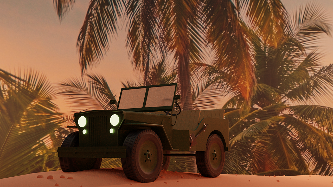 Jeep willis driving on the beach in early evening