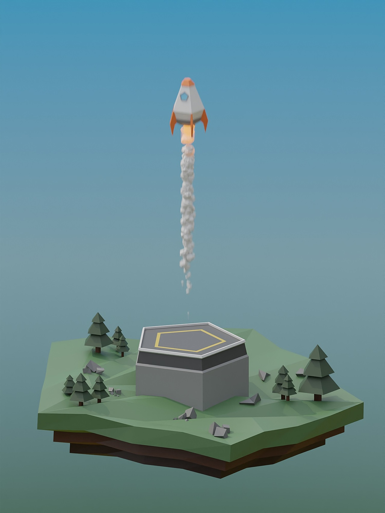 Low Poly rock tutorial result