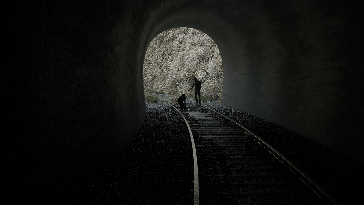 Concrete tunnel with rails