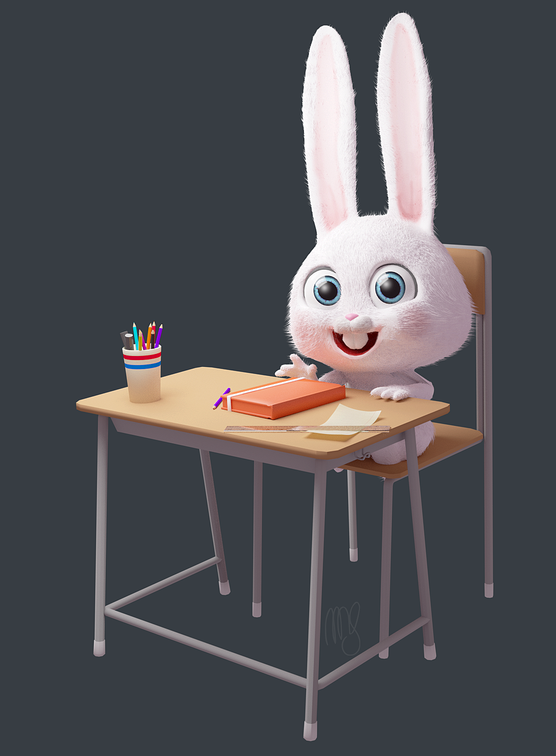 Kid Bunny back to school