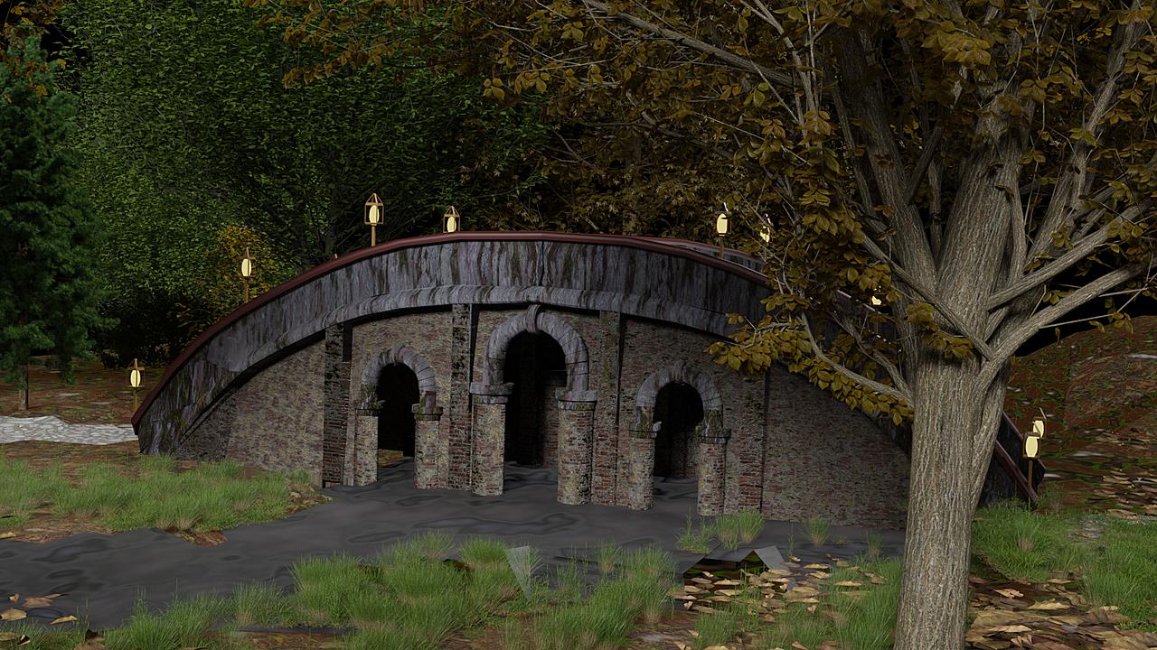 Dark bridge in autumn