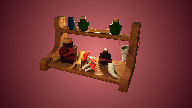 Model: Witches ingredients and shelf