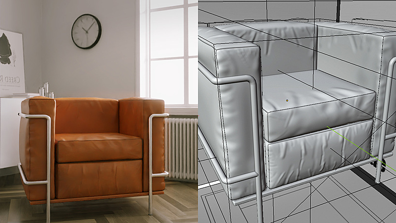 Creating an Armchair for an Architectural Scene