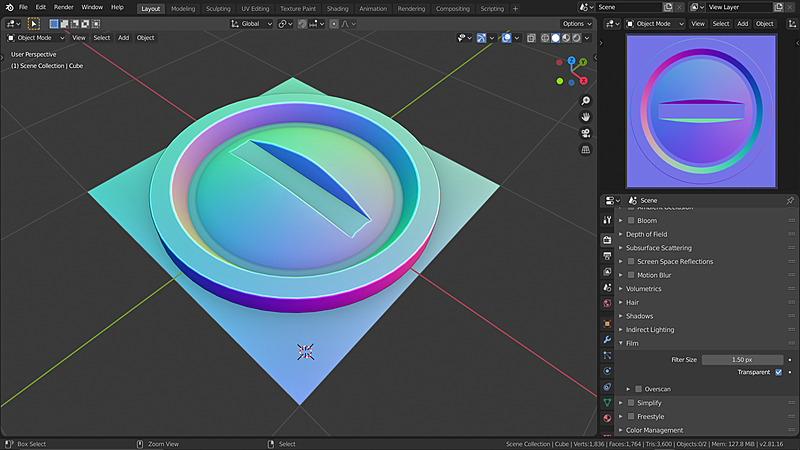 Workflow for Creating Normal Map Decals in Blender